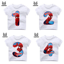 Kid's Happy Birthday Number 1~9th Spiderman Number Print T-shirts Boy and Girl Superhero Tshirt Baby Summer Top Children Clothes(China)