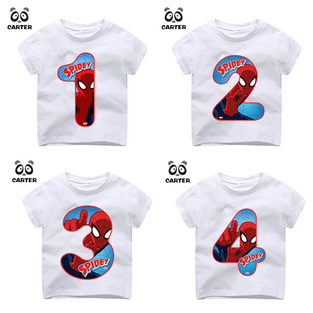 Kids Happy Birthday Number 19th Spiderman Print T Shirts Boy And Girl Superhero Tshirt Baby Summer Top Children Clothes