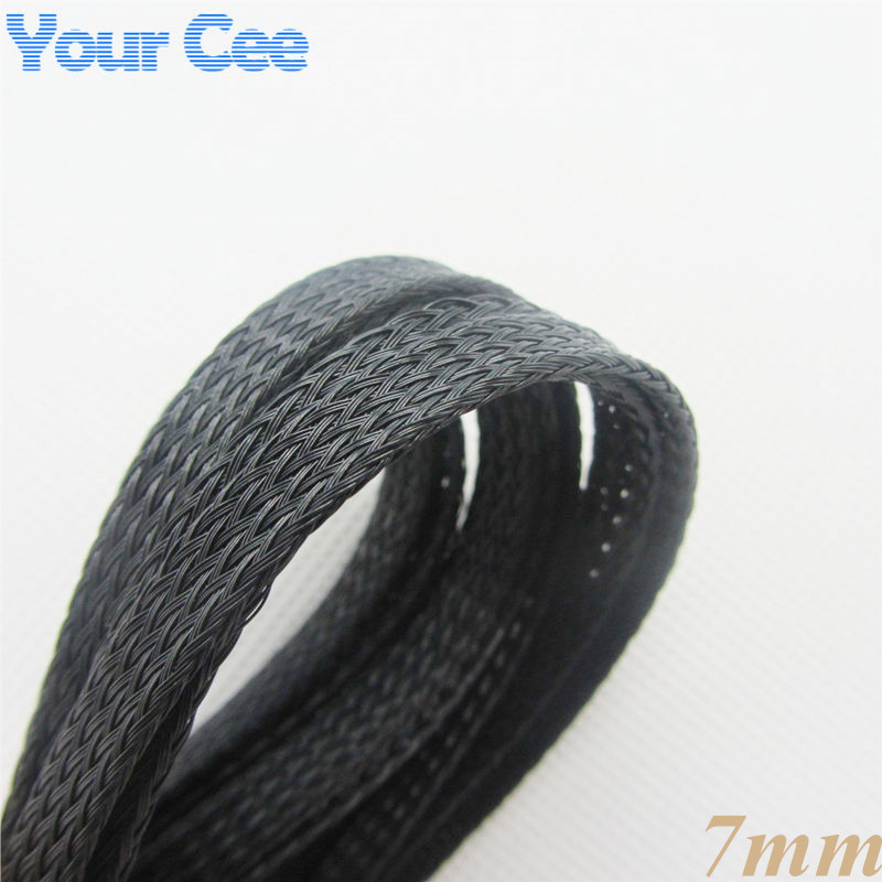 1M 7MM Black Nylon Braided Cable Sleeving Shielding Sheathing Auto Wire Harnessing