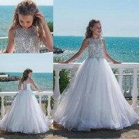 Лидер продаж, пышные белые платья принцессы с кристаллами для девочек подростков, украшенные жемчужинами, роскошные фатиновые Пляжные Плат