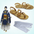 Touken Ranbu Online Mikazuki Munechika Cosplay Shoes Golden PU Leather Sandals Cosplay Sandals Custom-made+Socks