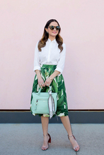 Fashion Women's Floral Print High Waist Flared Pleated Swing Long A-line casual elegant Skirt