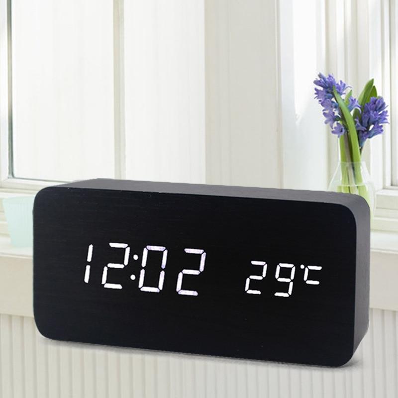 Top Sale!Digital LED Alarm Clock Sound Control Wooden Despertador Desktop Clock USB/AAA Powered Temperature Display Hours modern usb 4 x aaa powered wooden green led alarm clock w temperature display white