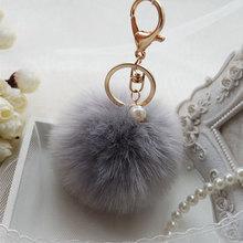 Faux Rabbit Fur Ball Keychain Charm Plush Car Keychains Women Handbag Key Ring pearl key chain Delicate 8cm pompom Cute Jewelry