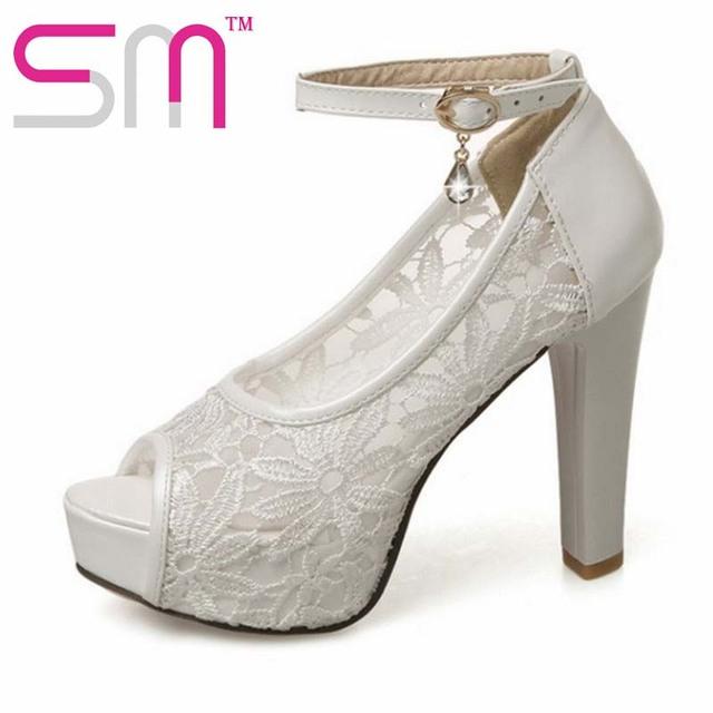 11 cm de Tacón Alto 2017 Bombas de Las Mujeres Zapatos de Novia de Encaje de la Mujer Peep dedo del pie del Verano Bombas Tamaño Grande 32-43 Mujeres Zapatos De moda bombas de las mujeres