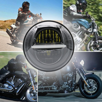 Motorcycle 5 3/4 Halo Angel Eye DRL Round Chrome Headlamp Harley Sportster 883 72 48 Black Daymaker 5.75 Inch H4 LED Headlight
