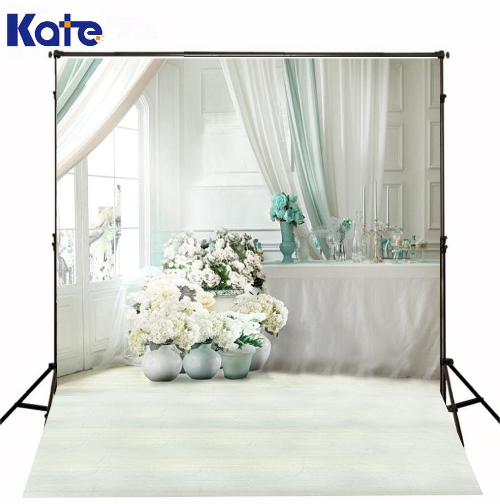 Kate Indoor White Wedding Photo Background  Flowers Interior Blinds Backgrounds For Photo Studio Photography Backdrops wedding photo backdrops white flowers hanging lights computer printing background gray wall murals backgrounds for photo studio