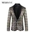 MEIJIANA 2018 Casual Slim Fit Pak Blazer Mode Bloemenprint Pak Jas Mannen Enkele Breasted Volledige Mouw Blazer Plus Size