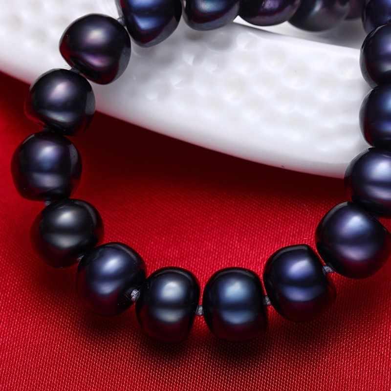 Wanita Natural Hitam Mutiara Air Tawar Perhiasan Kalung, 925 Sterling Silver Kalung, 9-10mm Manik-manik Perhiasan, hidup Pohon Gesper