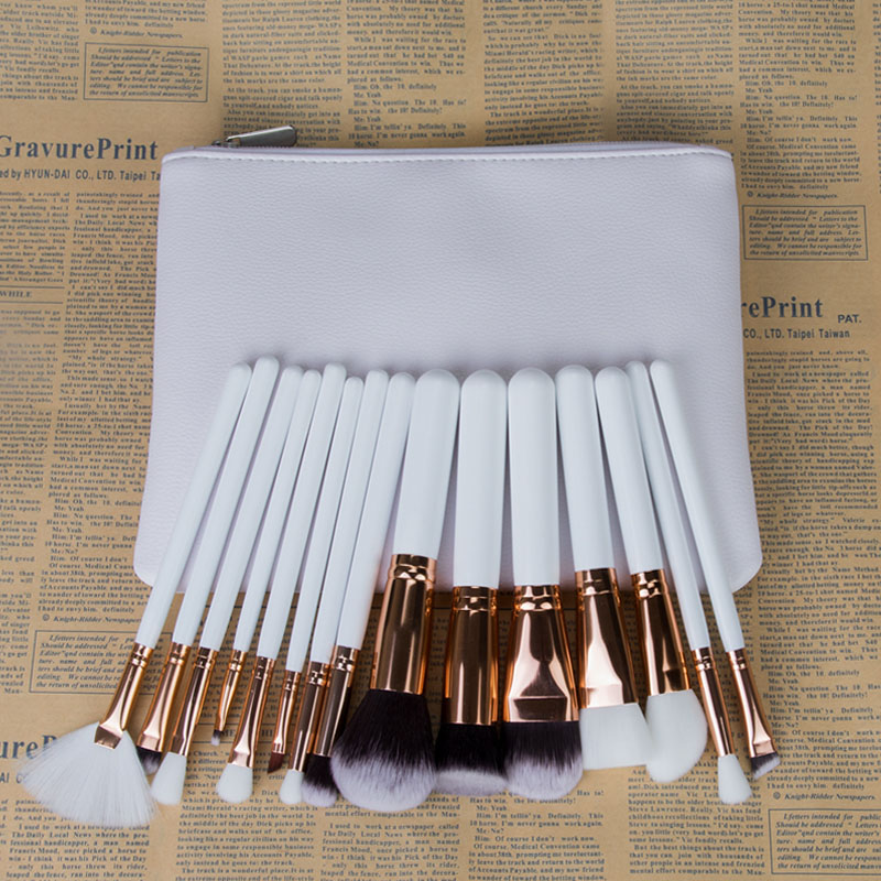 15Pcs Makeup Brushes Set Loose Powder Foundation Blusher Eyebrow Fan Brush Pincel Maquiagem Complete Kit Cosmetics With Case pro 15pcs tz makeup brushes set powder foundation blush eyeshadow eyebrow face brush pincel maquiagem cosmetics kits with bag