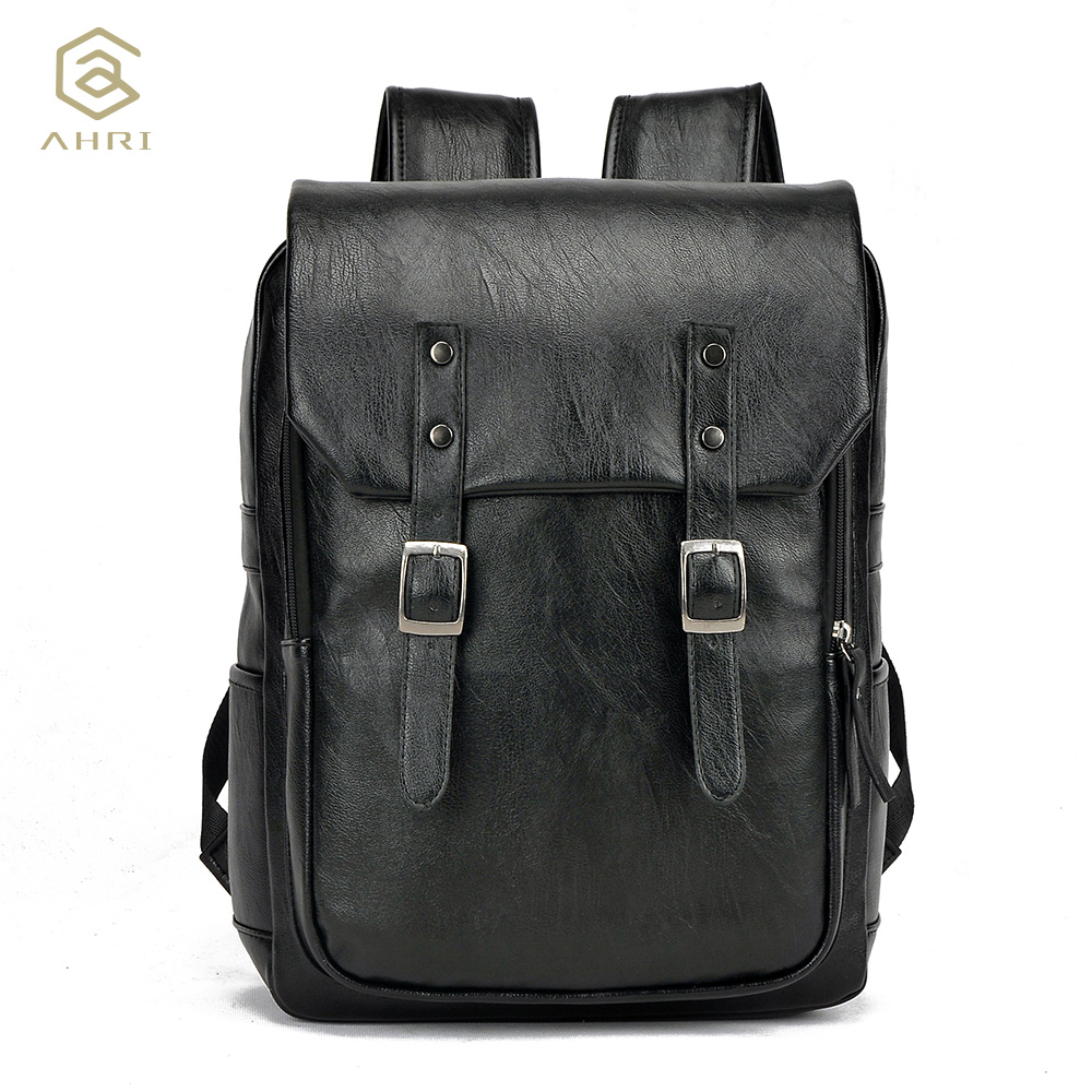ФОТО AHRI Factory outlet Fashion Men Business Casual School Travel Brown PU Leather Men's Shoulder Bags Vintage Backpacks for men