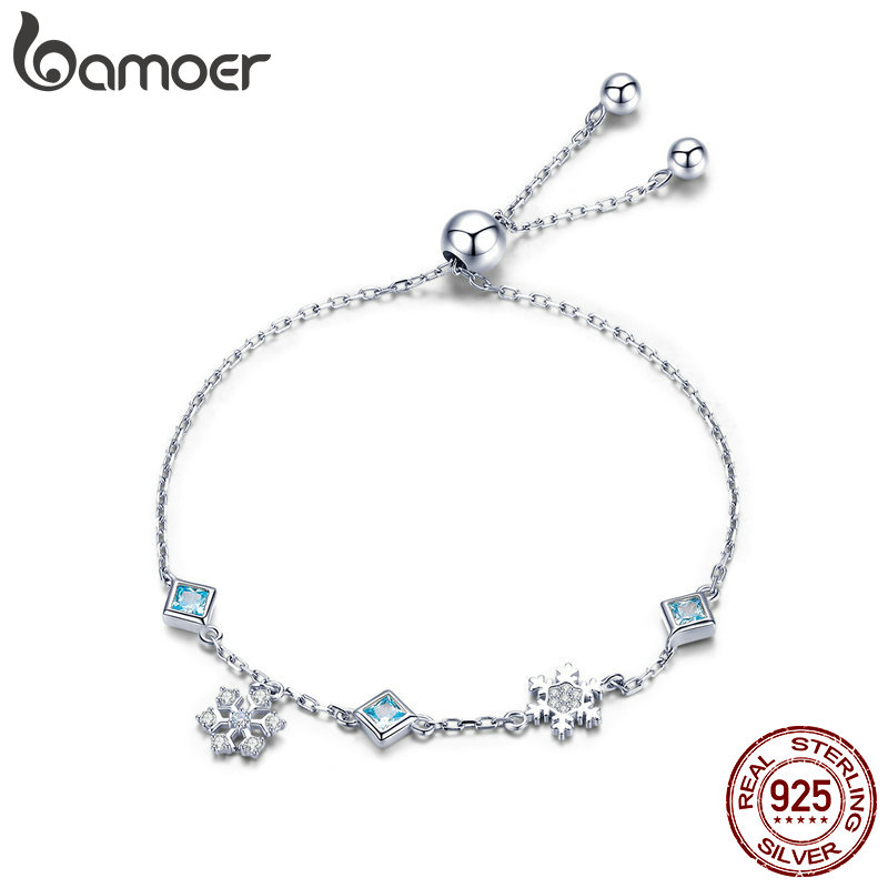 BAMOER New Collection 925 Sterling Silver Winter Snowflake Women Bracelets Chain Link Bracelet Sterling Silver Jewelry BSB001BAMOER New Collection 925 Sterling Silver Winter Snowflake Women Bracelets Chain Link Bracelet Sterling Silver Jewelry BSB001