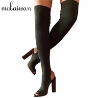 Fashion Green Over The Knee Women Stretch Long Boots Peep Toe Slingback High Heel Thigh High
