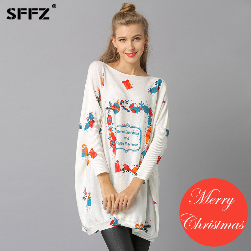 Happy New Year Woman Knitted Christmas Sweaters Pullovers Casual Print Sueter Mujer Wool Loose knitting Sweater Navidad Pullover