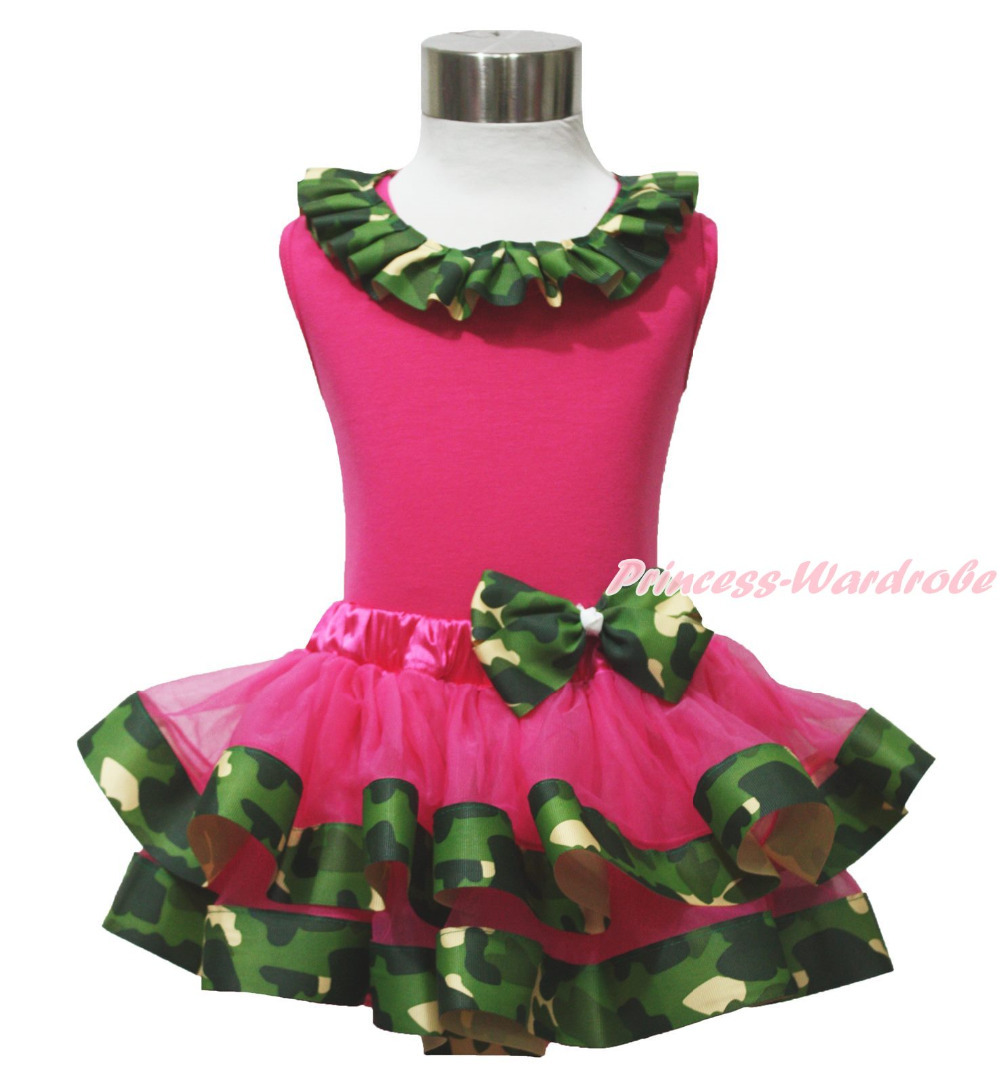 792fac3bcd3a Hot Pink Top Shirt Camouflage Lacing Satin Trim Girl Pettiskirt Outfit Set  NB-8Y MAPSA0642