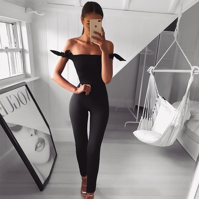 BKLD Full Length Off The Shoulder Jumpsuit Women Black Sexy Slash Neck Casual Romper Ban ...