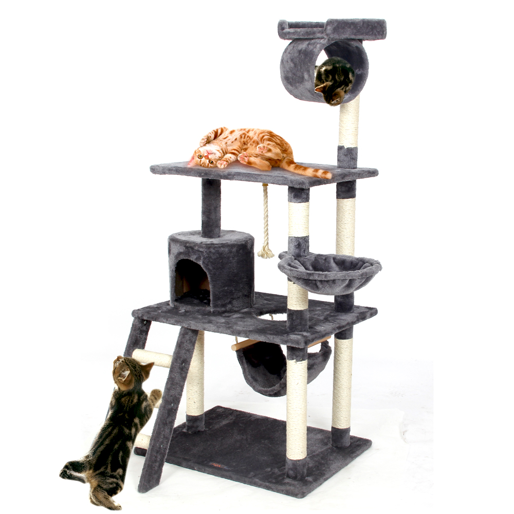 Domestic Delivery Cat Tree Scratching Climb Wood Frame Cat Playing House Kitten T House Hammock Cat For Fun 3 Colors