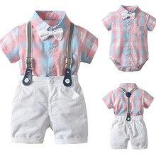 Baby Suits Toddler Boys Infant Tie 2pcs T-Shirt Set Top Shorts Grid Gentleman