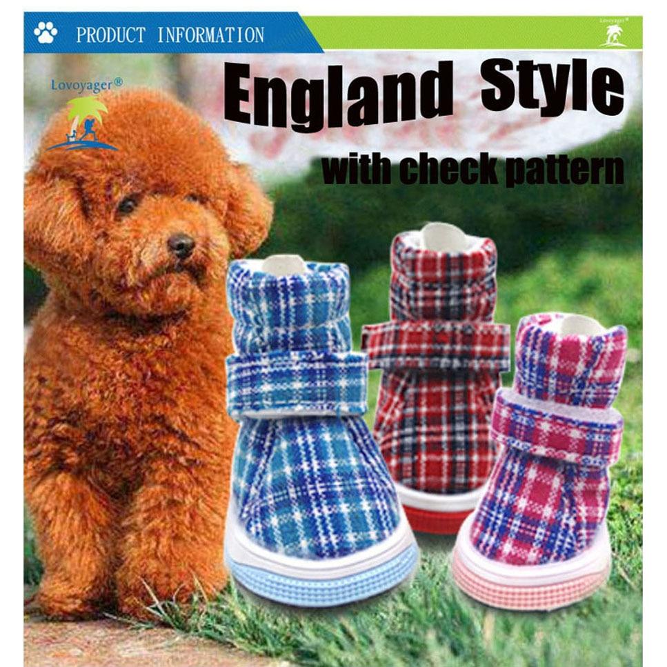 4Pcs/Sets Puppy Winter Boots Casual Dog Shoes Pet Slip-resistant Shoes Teddy Dog Shoe