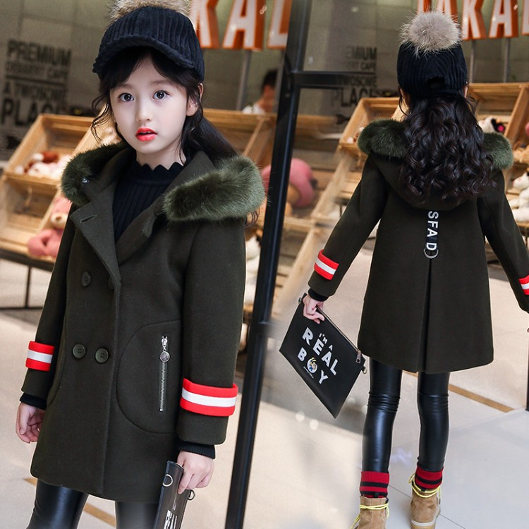 Winter children clothing girls jacket toddler clothes girl fur hooded woolen jacket  6 8 11 age kids clothes girls wool coat 2017 children wool fur coat winter warm natural 100% wool long stlye solid suit collar clothing for boys girls full jacket t021