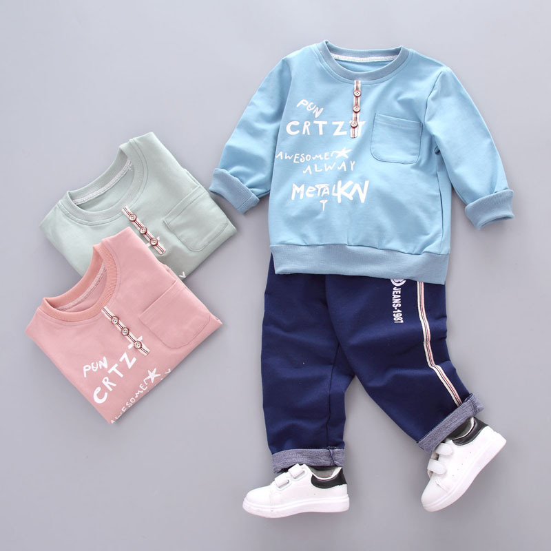 Dapchild 6M-4Y Children Clothing Long Sleeve Sports Suit Kids Tracksuit Cotton Fashion English Letter 2pcs/Sets Tops+ Long Pants 2017 new boys clothing set camouflage 3 9t boy sports suits kids clothes suit cotton boys tracksuit teenage costume long sleeve