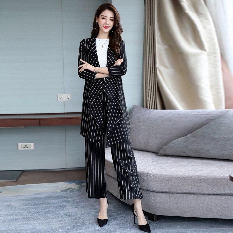 De piece Automne Tempérament Casual Rayé Mode Et Nouvelle Deux Suit Printemps Femmes manteau Costume Costumes Black Robe Slim Pantalon FqYd7d