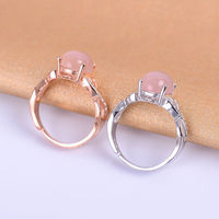 KJJEAXCMY Fine Jewelry Colorful Jewelry Female Paragraph 925 Silver Inlaid Natural Powder Crystal Ring Simple And