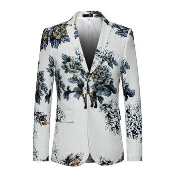 White Dress Blazer Coat 2018 New Single-breasted business Luxury Fashion Print Flowers Men High Quality Suit Jacket Big size 6XL Men Blazers