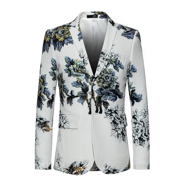 442130ca96c05 White Dress Blazer Coat 2018 New Single-breasted business Luxury Fashion Print  Flowers Men High Quality Suit Jacket Big size 6XL