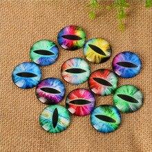 Купить с кэшбэком 50Pcs 8mm-35mm Round Glass Cabochon Eye Image Mix Shape Glass Cabochons Jewelry Findigns