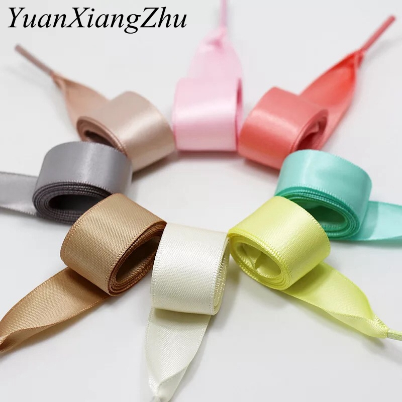 1Pair 2 CM Width Silk Satin Shoelaces Ribbon Shoe Laces Boots Women Sneakers ShoeLace 19 Colors Length 80CM/100CM/120CM S-1 1