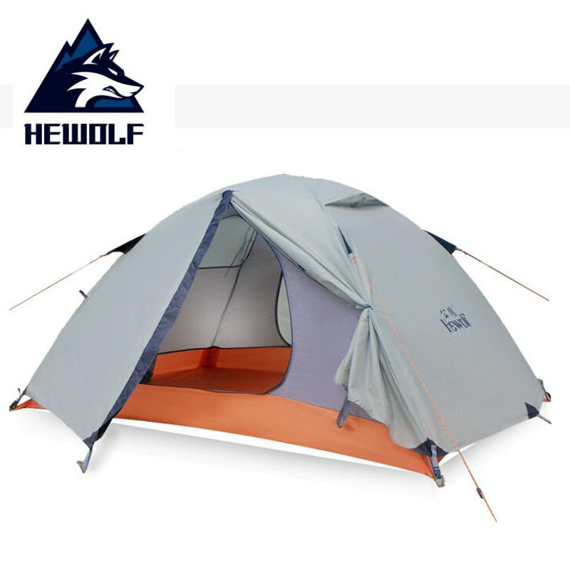 Hewolf Waterproof 5000MM Outdoor Tent 2 Person 4 Seasons Hiking Camping Tent Double Layer Beach Fishing Tourism Tents Tienda outdoor waterproof folding ultralight camping tent 1 2 person double door fishing tourist tent beach tent hiking family tent