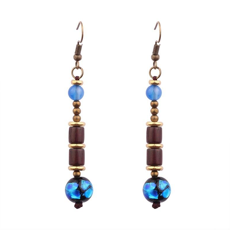 star handmade glass glazed wood ethnic earrings,nature stones vintage dangle earrings ,New Original jewelry exotic earrings,