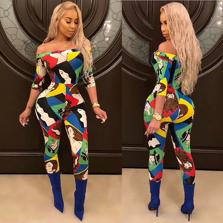 67a8a56cd03b Colorful Character Printed Sexy Party Jumpsuit Women Slash Neck Half Sleeve  Skinny Romper Summer Full Length