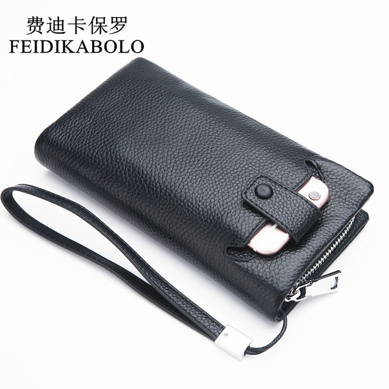 FEIDIKABOLO 100% Genuine Leather Men Wallet Long Zipper Wallet Male Clutch Purse For Men Handy Bags Portomonee Mujer Carteras