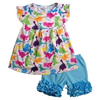 Grosir Musim Panas Populer Merah dan Merah Muda Pola Hewan Butik Anak Pakaian Gadis Pakaian Bayi Gadis Pakaian 2GK811-832