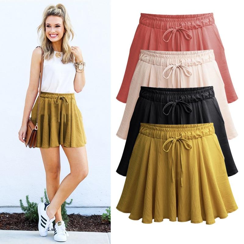 Shorts   Skirts women summer Casual High Waist plus size Loose Drawstring A- line Skirt   Shorts   5XL 6XL