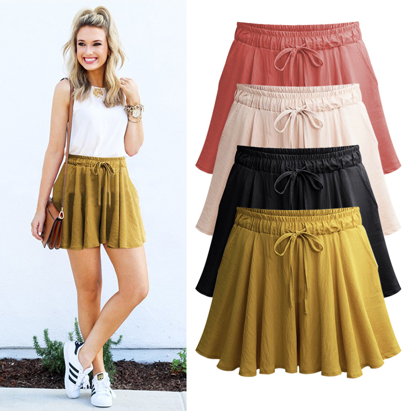 Shorts Skirts  Women Summer Casual  High Waist  Plus Size  Loose Drawstring  A- Line Skirt Shorts  5XL 6XL