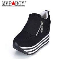 MVP BOY Casual Shoes For Women Chunky Sole Hidden Height Increasing Trifle Single Shoe Tenis Feminino