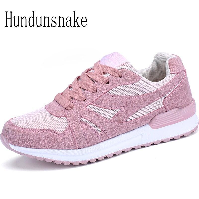 Hundunsnake Women Sneakers Running Ladies Sport Shoes Breathable Female Krasovki Platform Gumshoe Basket Femme 2018 Trainer T174