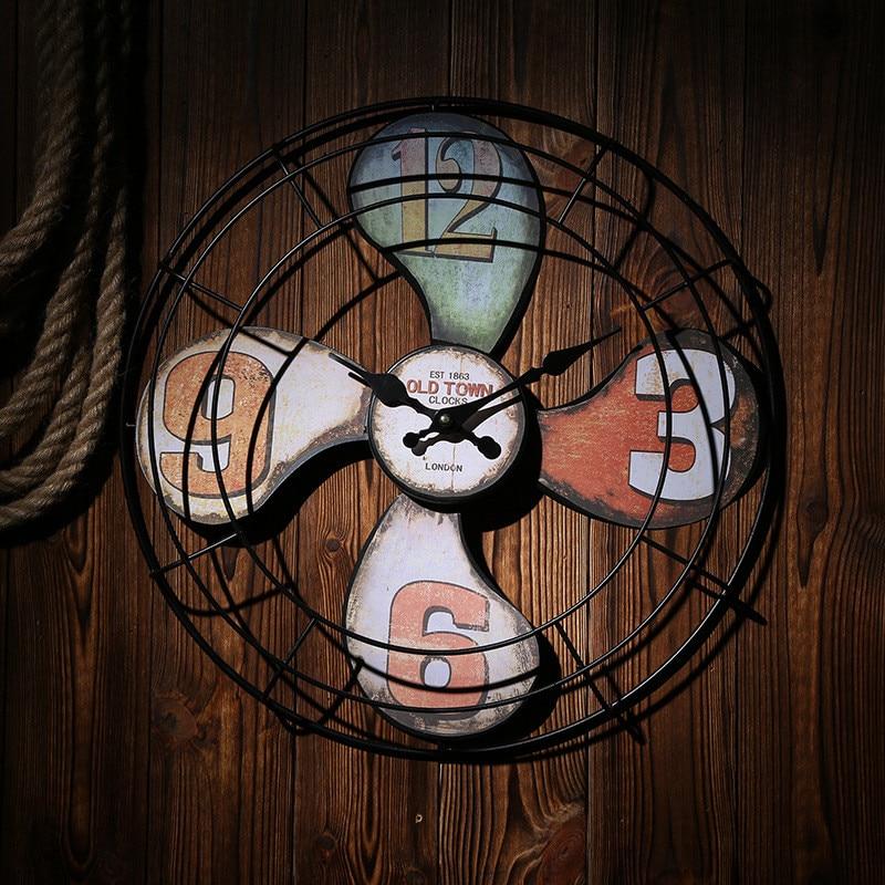 Home Decor Large Wall Clock Retro Design Imitation Wooden Hanging Vintage Silent Wall Clock Decor Watch Wall Iron Clock quartz clock