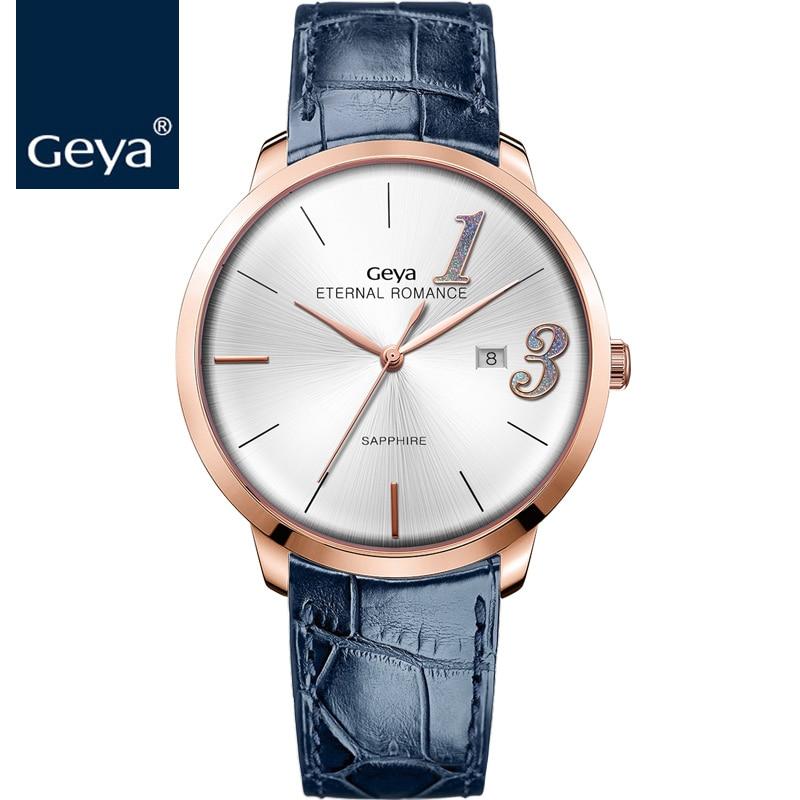 ГЕЯ Японский Miyota движение женщина часы Мода Кожаный Синий кварцевые наручные часы Водонепроницаемый сапфир пару любитель золота часы