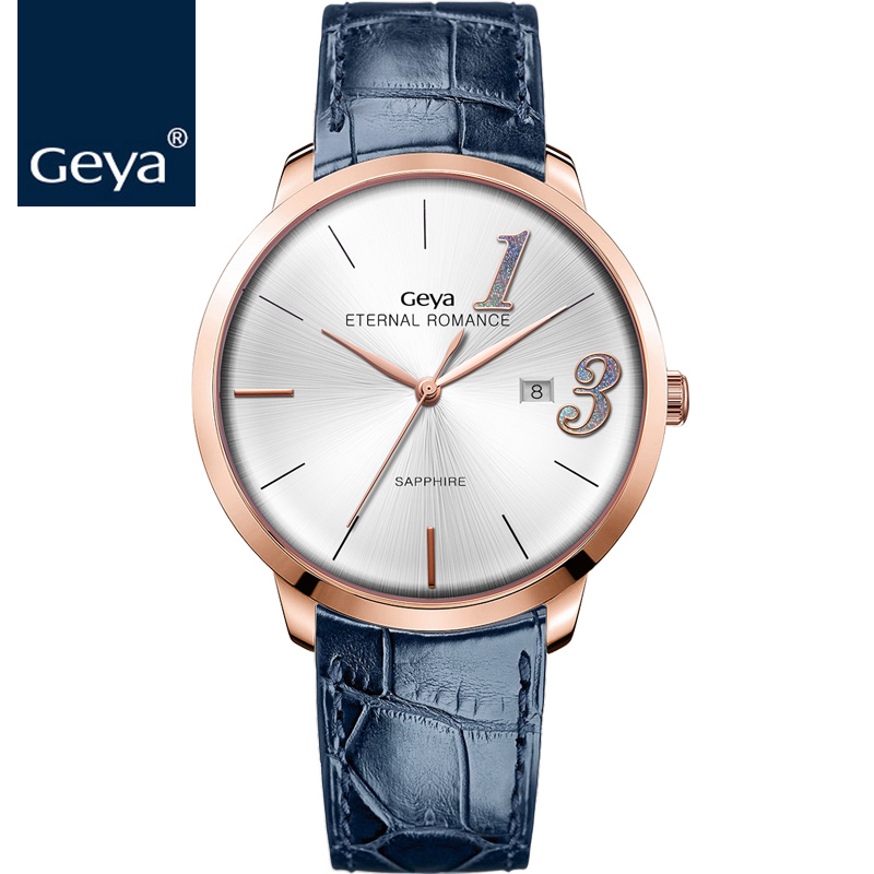 2018 New Geya Watch Woman Quartz Leather Fashion Blue 30 meters Water Resistant Sapphire Couple Lover Rose Gold Watches фигурка planet of the apes action figure classic gorilla soldier 2 pack 18 см