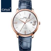 Geya Japanese Miyota Movement Woman Clock Fashion Leather Blue Quartz Wristwatch Waterproof Sapphire Couple Lover Gold Watch