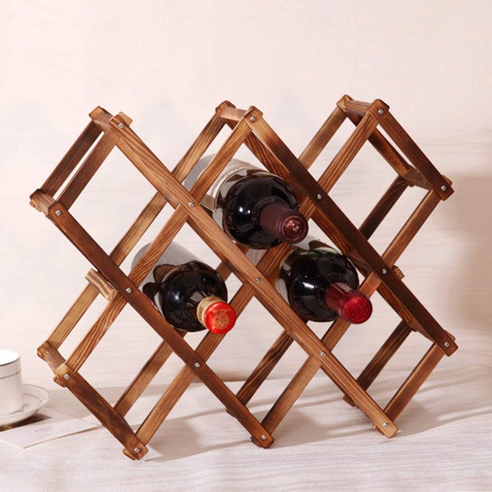 1pcs Wood Wine Holder 10 Bottles Wood Folding Wine Racks