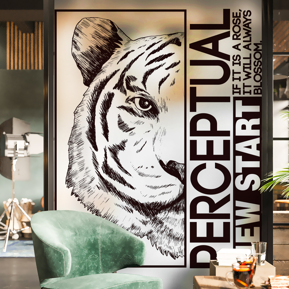 Tiger Glass Static Window Movie Polyethylene Opaque Safety Of Privateness Window Stickers House Decor Window Ornament