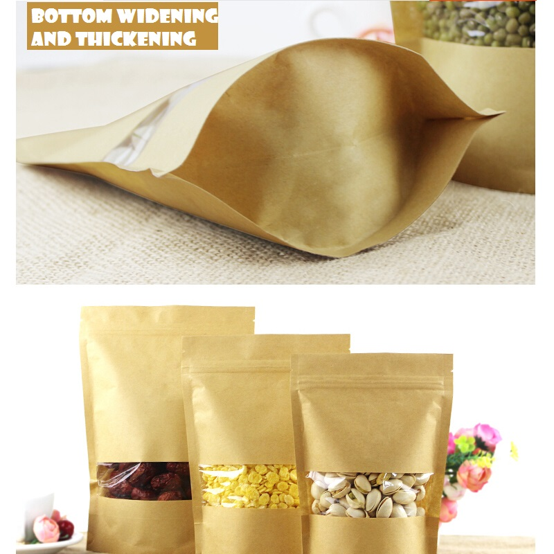 <font><b>12X20</b></font>+4CM Transparent window kraft bag paper bag plastic packing bag pouch image
