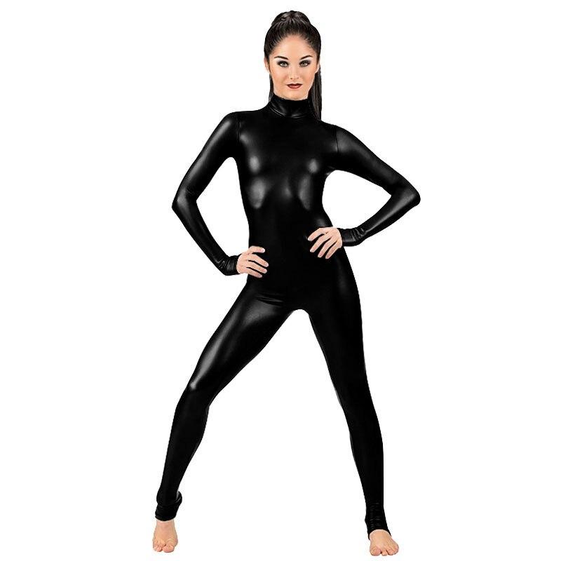 e065cf3e771 Ensnovo Women Lycra Nylon Black Shiny Metallic Zentai Suit One Piece  Turtleneck Unitard Custom Bodysuit Cosplay Costume