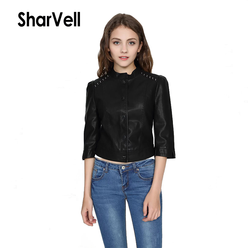 Sharvell Women Slim PU   Leather   Street wear Jackets Single Breasted Three Quarter Sleeve Cool Coat Bomber Rivet Stand Jackets