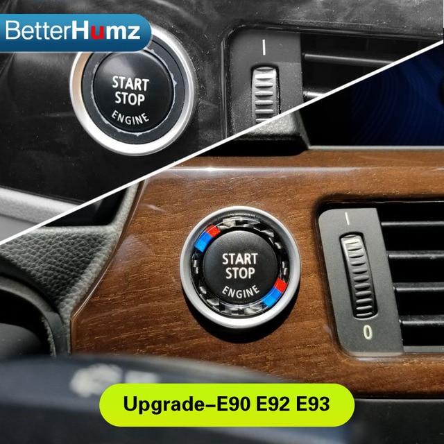 a9d38ddbe55a For bmw e90 e92 e93 Car Engine Start Stop Ignition Key Ring Stickers Carbon  Fiber circle